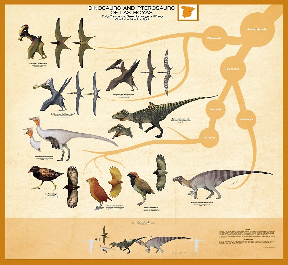 Dinosaurs and Pterosaurs of las Hoyas by SerpenIllus