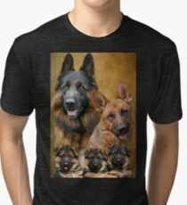 German Shepherd Family Collage Tri-blend T-Shirt