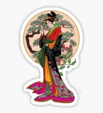 Japanese girl with a landscape in the background. Sticker