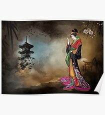 Japanese girl with a landscape in the background. Poster