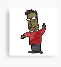 cartoon clever man with ideas Canvas Print