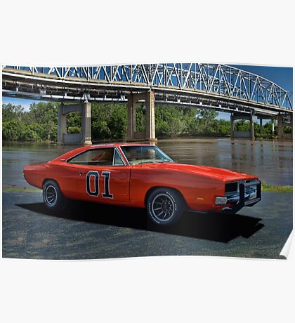 """1968 Dodge Charger RT """"General Lee"""" Replica Poster"""
