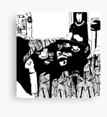 girl and boy in a cafe Canvas Print