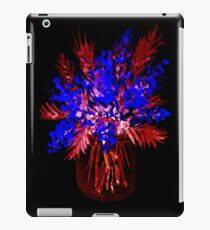 Psychedelic flower bouquet in blue and red colors iPad Case/Skin