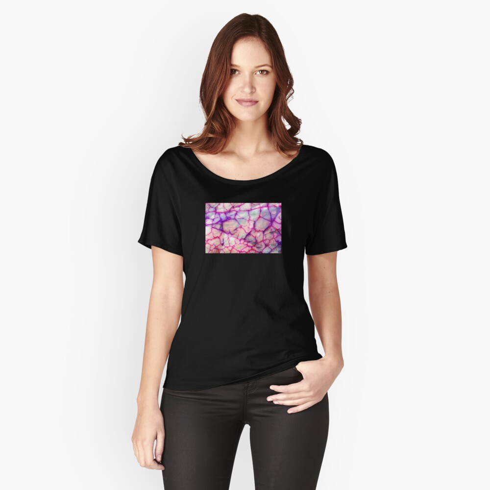 Weißes rotes Drache-Ader-Achat-Muster Loose Fit T-Shirt
