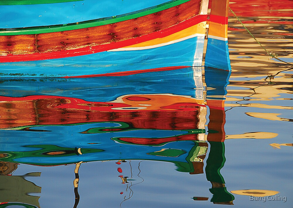 Reflected boat Malta by Barry Culling