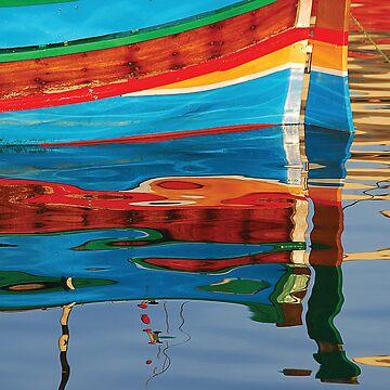Reflected boat Malta by baji