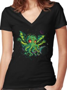 R'YLEH: NEVERDIE Women's Fitted V-Neck T-Shirt