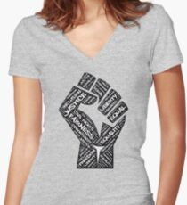 Civil Rights Black Power Fist Justice Design Women's Fitted V-Neck T-Shirt