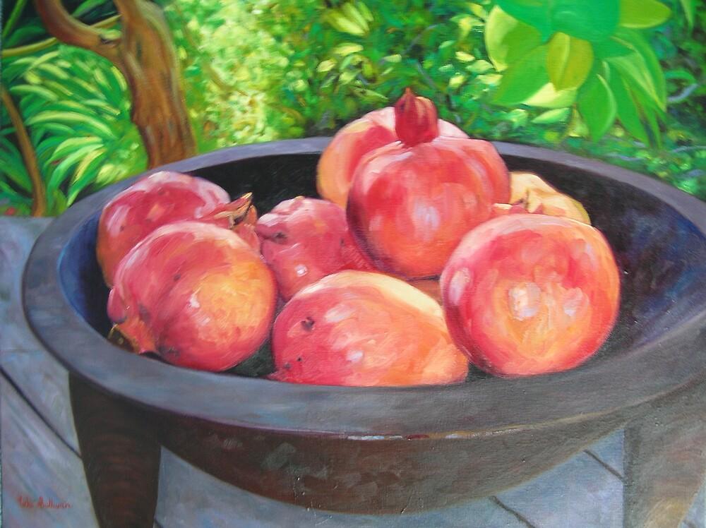 Pomegranates in Kava bowl by avocado
