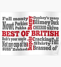 English slang on the St George's Cross flag Poster