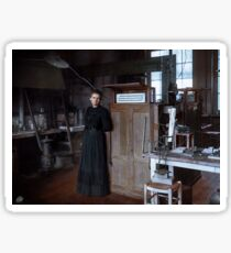 Marie Curie in her laboratory in Paris, 1912 Sticker