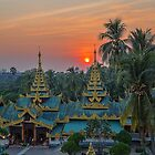Myanmar. Yangon. Shwedagon Pagoda. One of the Entrances. Sunset. by vadim19