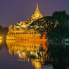 Myanmar. Yangon. Karaweik at Night. by vadim19