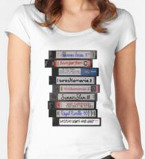 80's Wrestling VHS Tapes Women's Fitted Scoop T-Shirt