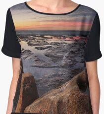 Sunrise and reflections on coastal rockshelf Women's Chiffon Top