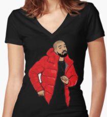 drake Cartoon Women's Fitted V-Neck T-Shirt