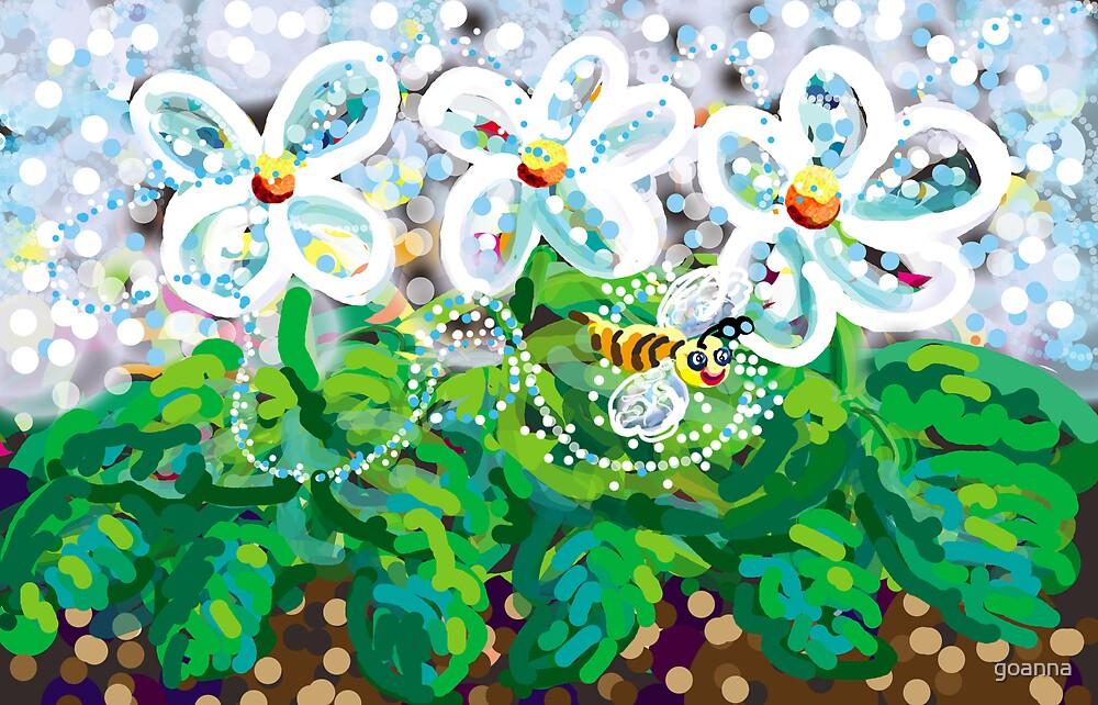 Flowers and honeybee by goanna