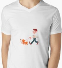 A man walking with his dog Mens V-Neck T-Shirt
