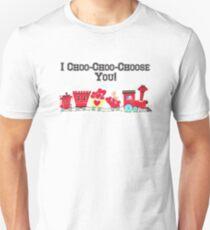"""I Choo-Choo-Choose You!"" - Vintage Valentine Train Card, Red, Hearts, Love, Romantic, Couple, Cherub, Angel, Cute, Retro, Ephemera, Inspired, Choo, Choo T-Shirt"