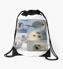 Harp Seals Collage Drawstring Bag