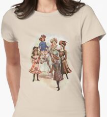 Edwardian Era Women and Girls with Donkey Fashion Illustration T-Shirt