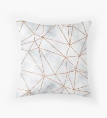Marble Geometric Rose Gold Design Throw Pillow