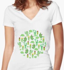 watercolor cactus Women's Fitted V-Neck T-Shirt