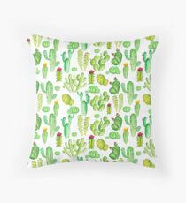 watercolor cactus Throw Pillow