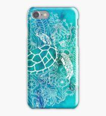 Green Turtle In Sea Garden iPhone Case/Skin