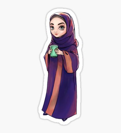 Khaleeji Woman Enjoying Coffee  Sticker