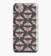 Moth pattern on dark grey iPhone Case/Skin