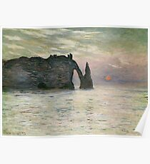 Claude Monet - The Manneport, Cliff At Etretat, Sunset, 1883 Poster