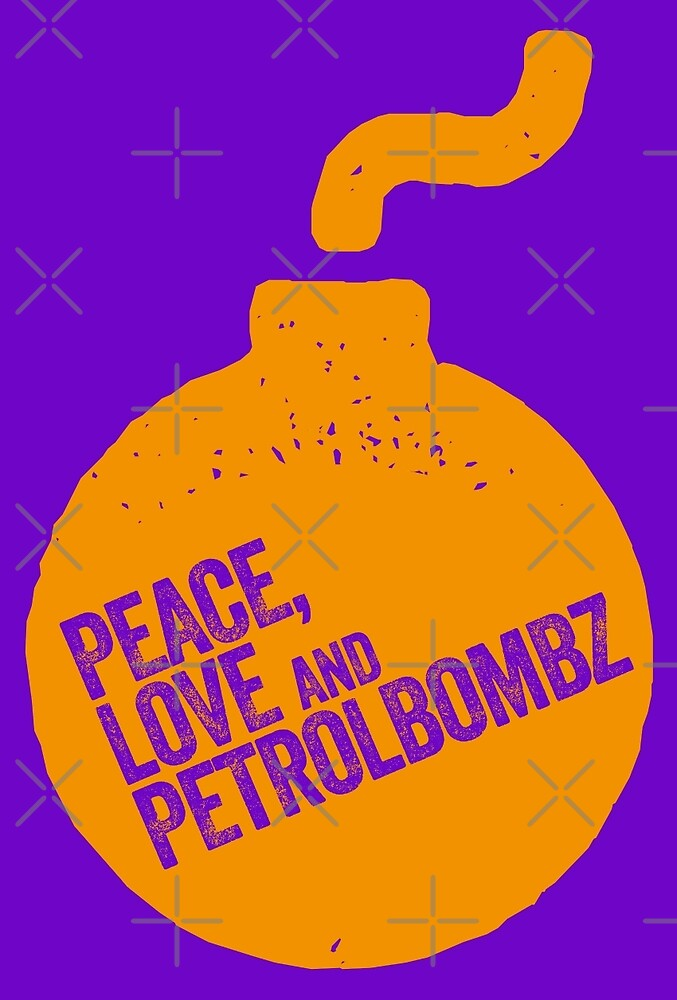 PEACE, LOVE AND PETROLBOMZ graphic motif by Clifford Hayes