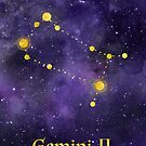 Gemini Zodiac constellation, birthday May to June, astronomy, astrology, horoscope, watercolour space painting with gold effect stars, font and symbol. by Sandra O'Connor