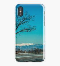 snowy morning in the vineyard iPhone Case/Skin