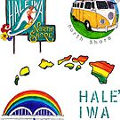 Hale'iwa Sign Drawing - STICKER PACK / MAN by northshoresign