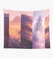 Mountains and Forest Trees - Purple Mountain Wildfire Smoke Tree Wall Tapestry