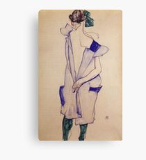 Egon Schiele - Standing Girl In A Blue Dress And Green Stockings Back View 1913 Canvas Print