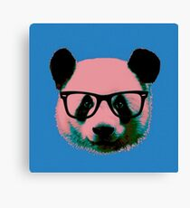 Panda with Nerd Glasses in Blue Canvas Print