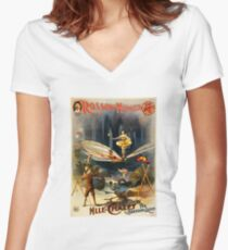 Antique Vaudeville Poster - Mademoiselle Chalet, the Bounding Queen (1897) Women's Fitted V-Neck T-Shirt