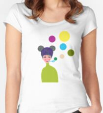 Playful Girl Women's Fitted Scoop T-Shirt