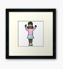 cartoon clever woman with idea Framed Print