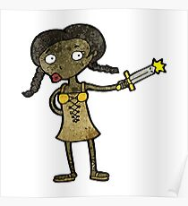 cartoon woman with sword Poster