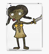 cartoon woman with sword iPad Case/Skin