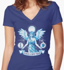 The Angel of Hangovers Women's Fitted V-Neck T-Shirt