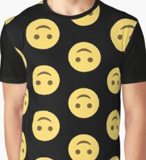 Emoji Upside-down Happy Face Graphic T-Shirt