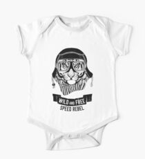 Wild tiger with motorcycle helmet Perfect gift for bikers One Piece - Short Sleeve