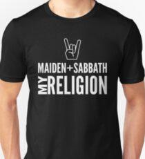 Maiden and Sabbath religion Slim Fit T-Shirt