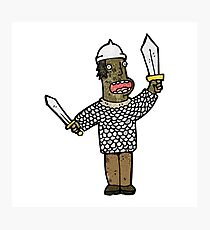 cartoon medieval soldier Photographic Print